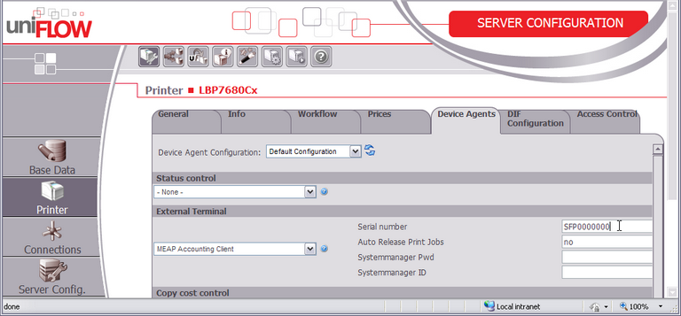 Configuration in uniFLOW